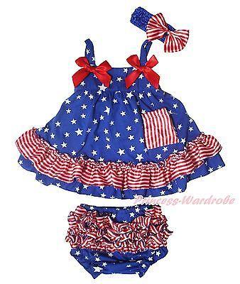 4th July USA Flag Heart White Bodysuit Patriotic Star Skirt Baby Dress NB-12M