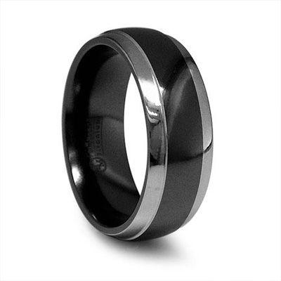 Edward Mirell Men S 7 0mm Two Tone Black Anium Polished Wedding Band