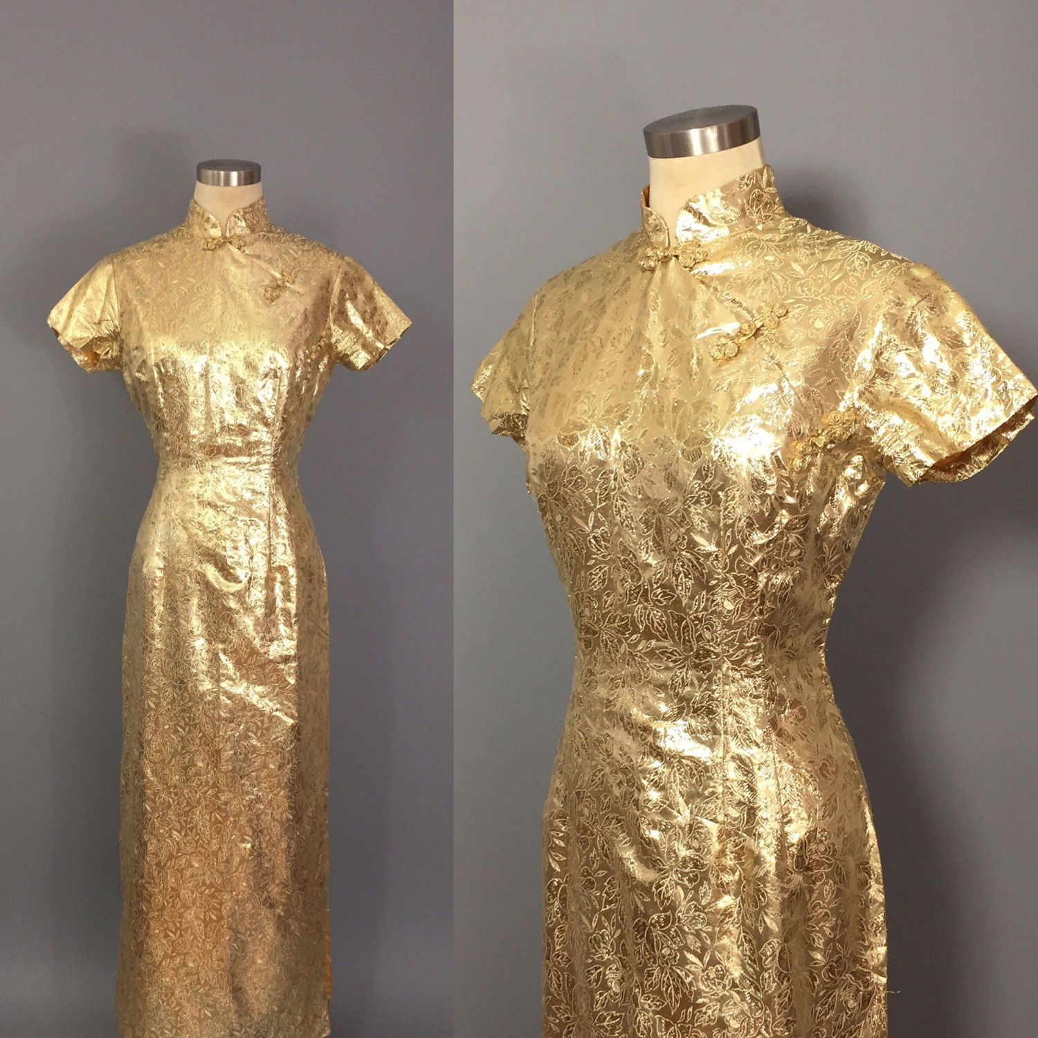 Vintage Cheongsam Dress / Gold Lame Dress / Gold Asian Cocktail ...