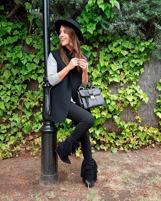 Grey sweater+black leggins+black oversize vest+black midi boots with fringes+black hat+black handbag+printed scarf. Fall Outfit 2016