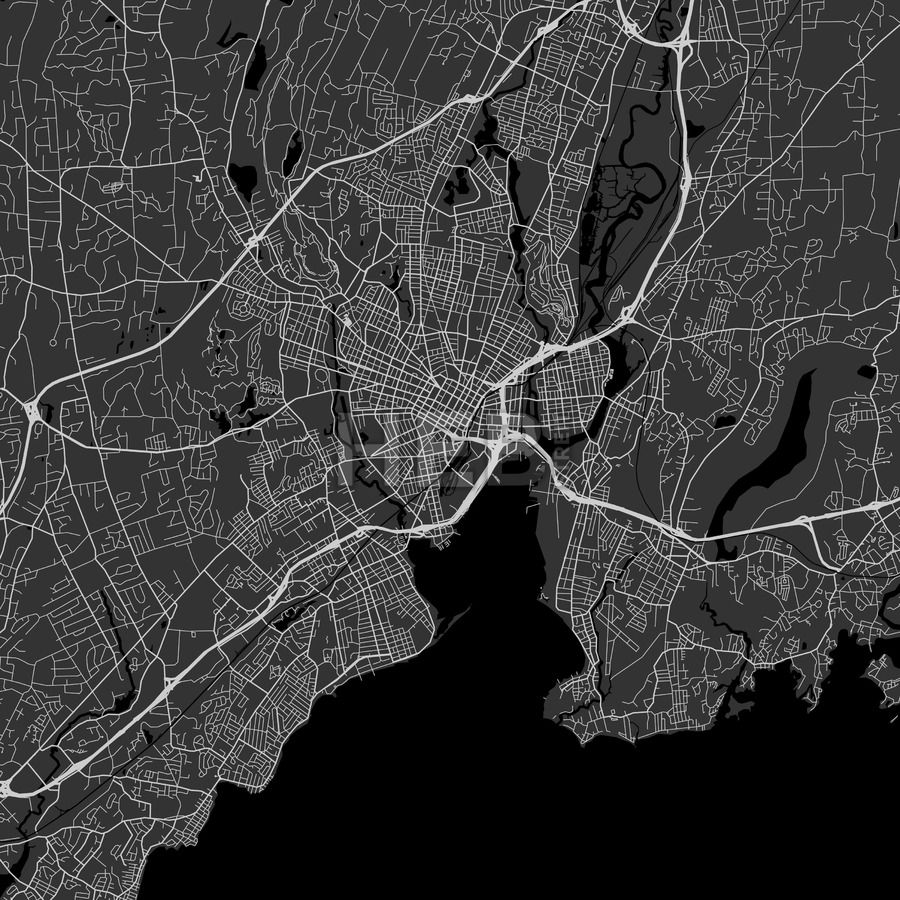 New Haven downtown and surroundings Map in