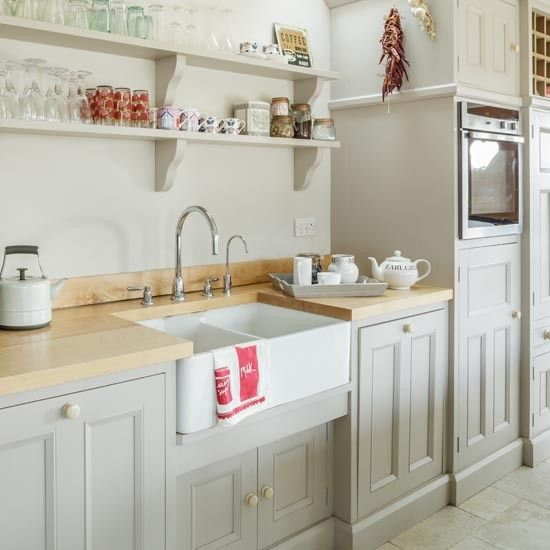 Sink area with shelves | Bright Country Kitchen | Makeover | PHOTO ...