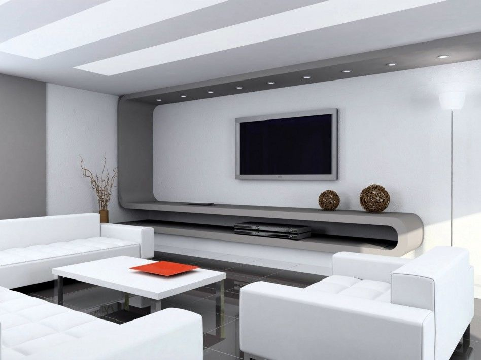 Elegant Modern White Living Room Featuring Silver Wall Mount Tv And Gray Curved