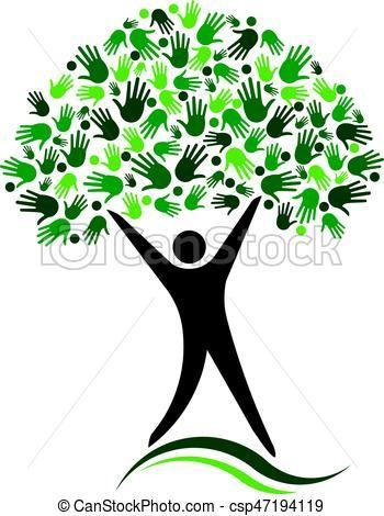 Vector Clip Art Of Man Tree Logo Design Social Network Friends Csp47194119 Search Clipart Illustration Drawings A Tree Logo Design Tree Logos Logo Design