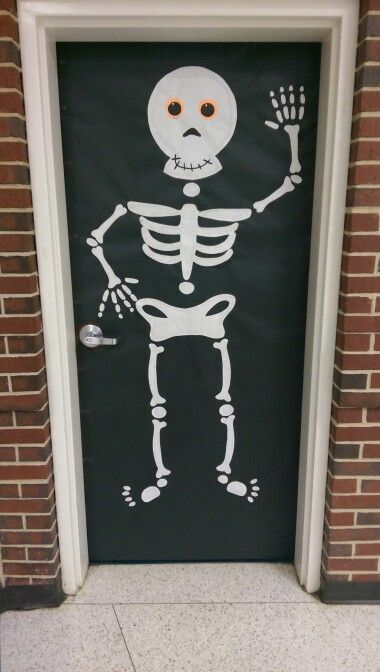 Skeleton Halloween classroom door decoration