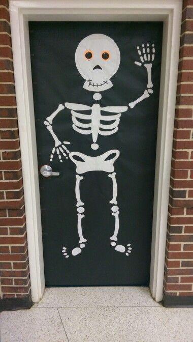 Skeleton halloween classroom door decoration bulletin boards door decorations pinterest - Decoration salon halloween ...