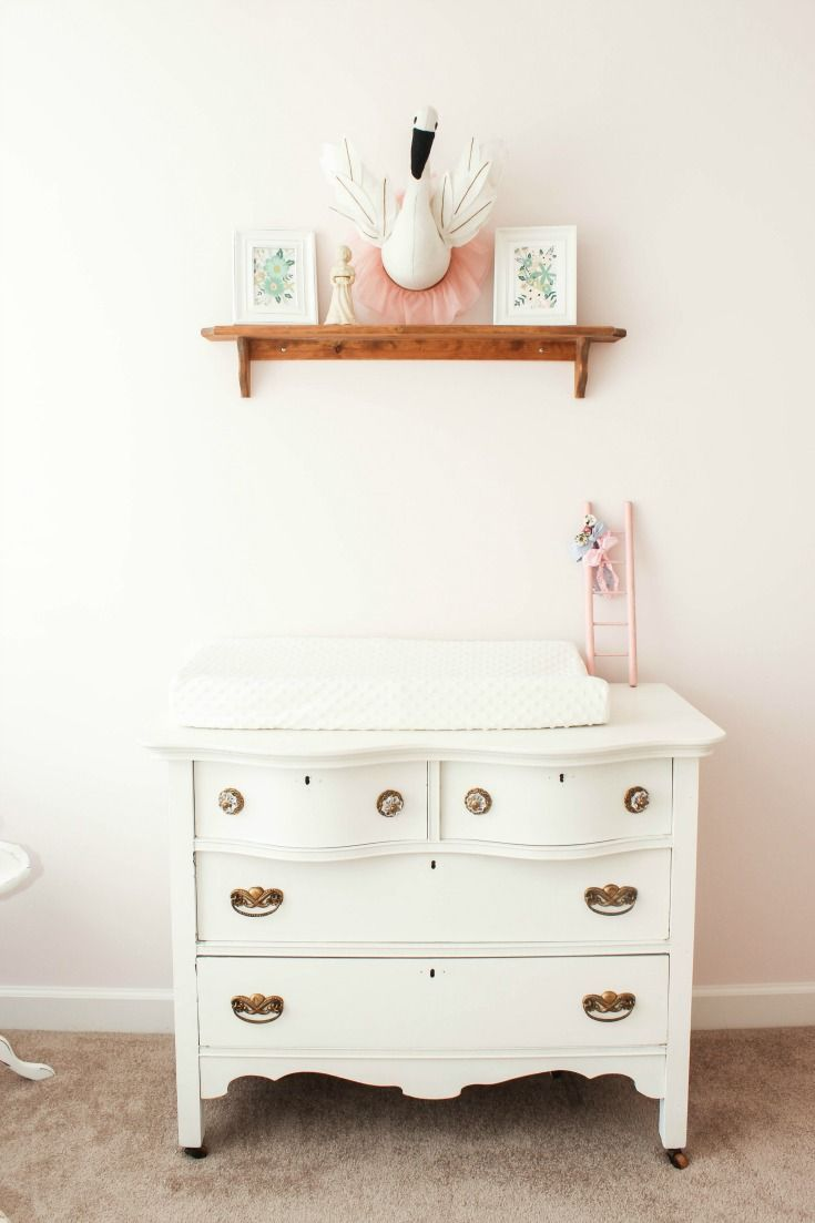Vintage Dresser Changing Table In This Beautiful Blush Pink S Nursery