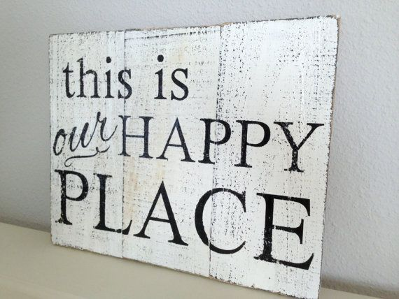 Made to Order Rustic Wooden Sign - this is our happy place - Pallet ...