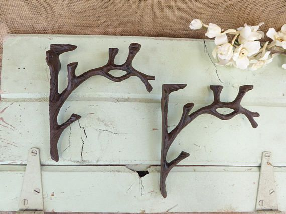 "Set of 2 Cast Iron Shelf Brackets New Antique-Style Twig Branch Rustic 7/"" x 7/"""