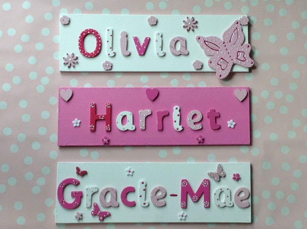 Children Kids Wooden Name Plaque Personalised Bedroom Boy Girl Door