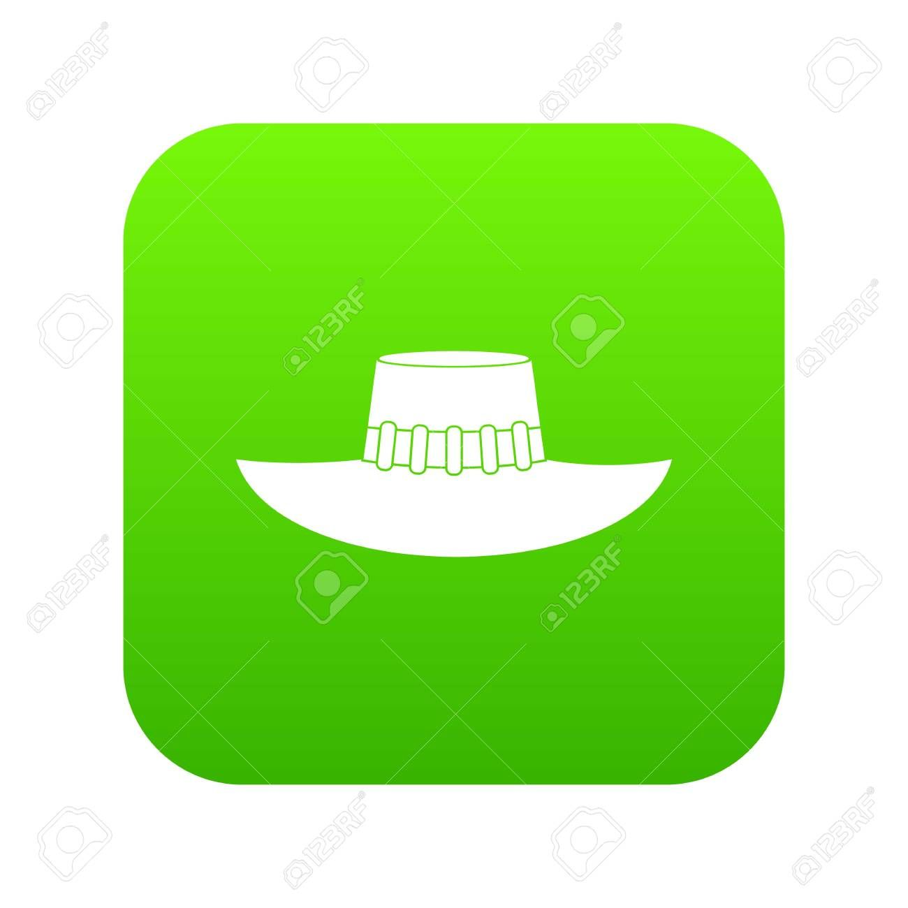 Woman hat icon in green square on white background