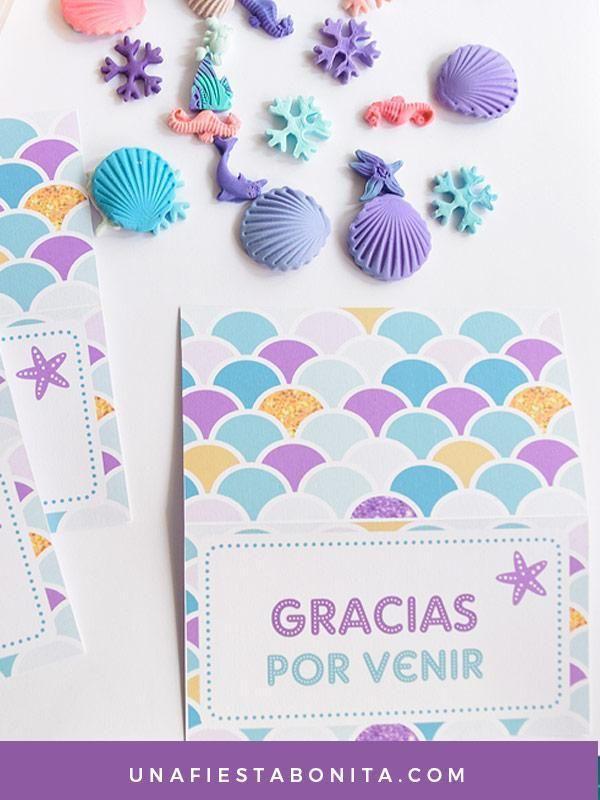 Etiquetas para bolsas de dulces sirena #sirenas #partysirenas | Una ...