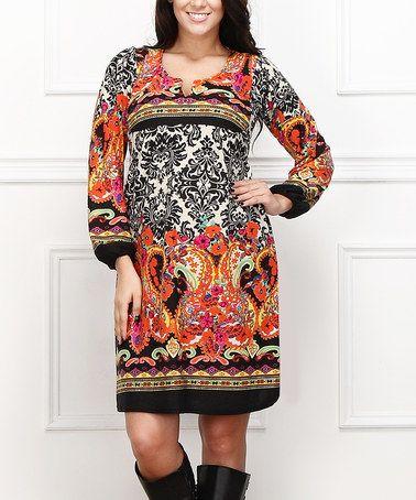 5fab5c752301a5 Loving this Orange & Black Damask Shift Dress - Plus on #zulily!  #zulilyfinds