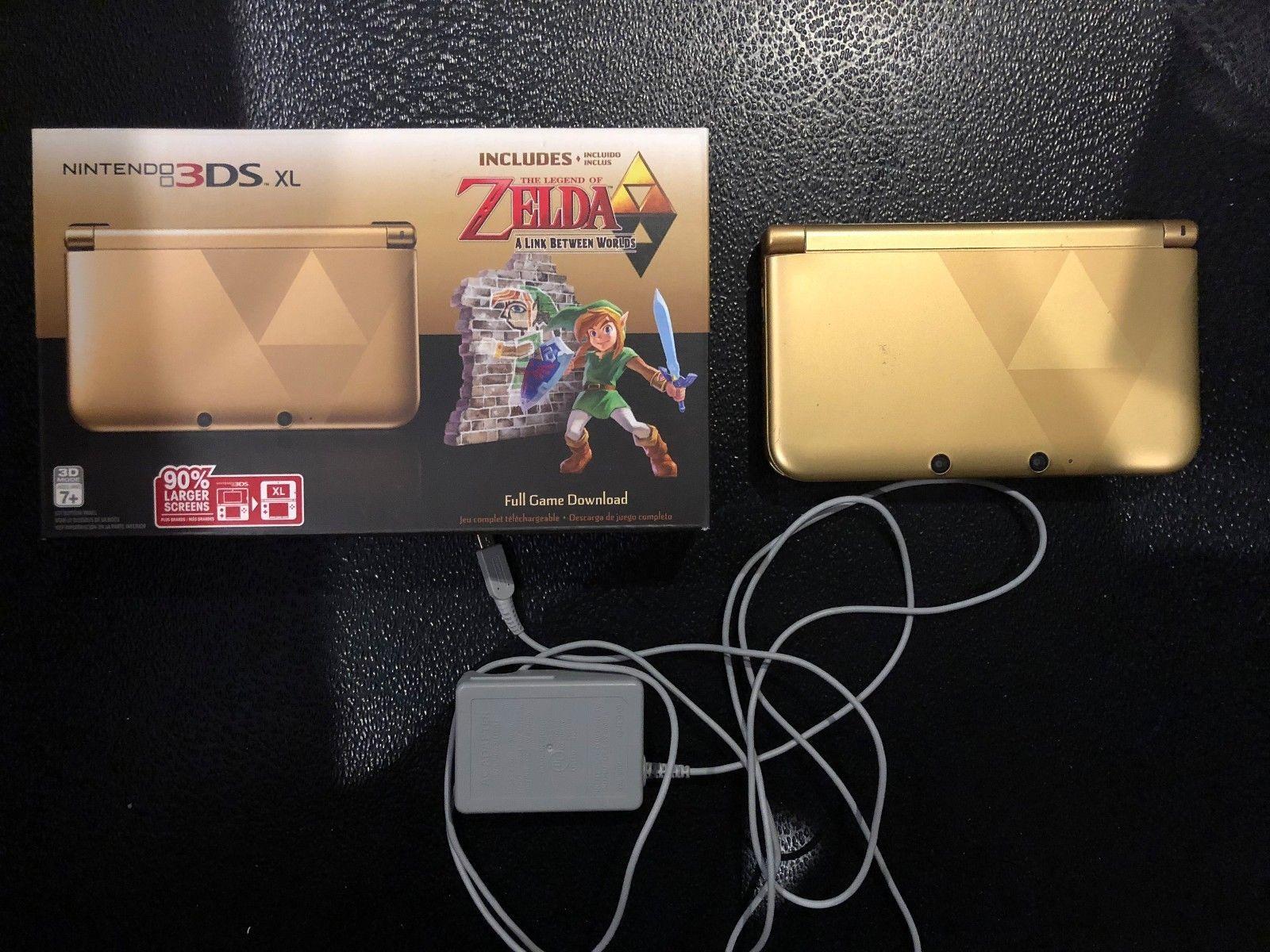 Nintendo 3ds Xl Legend Of Zelda Link Gold System Games Bundle