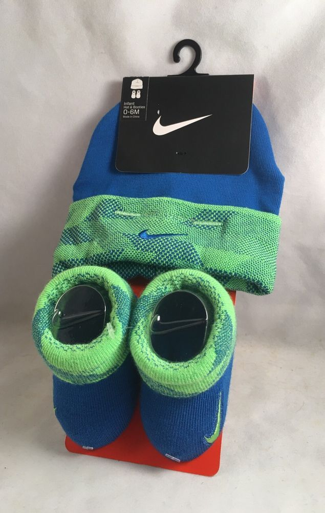 43e0cf57cb35 New Nike Baby Cap Hat   Booties Gift Set 0-6 Months Boys Blue Green Shower   Nike  Beanie