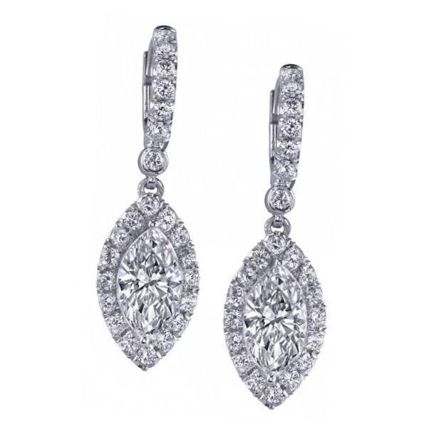1 25 Carat E F Si2 Gia Certified Marquise Cut Diamond Drop Earrings Set In 18k