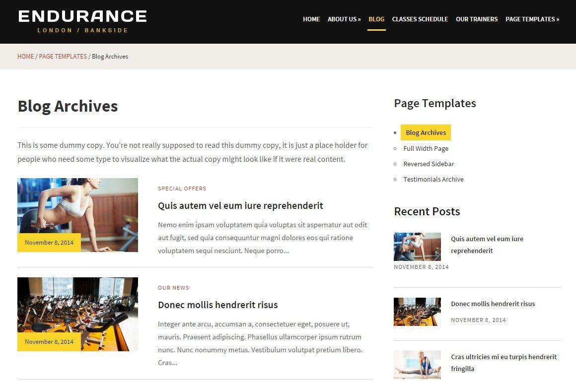 Endurance Fitness Theme Endurance Blog Class Fitness Club