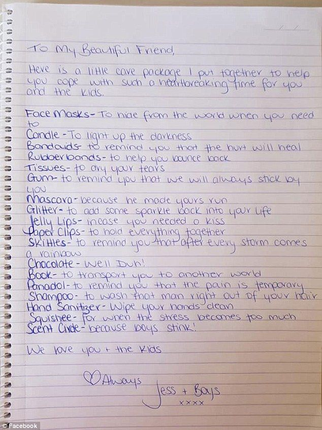 Friend makes 'breakup survival kit' after partner walks