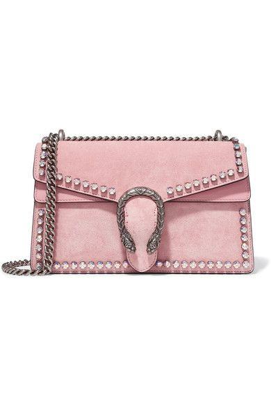 ff6754f3a5e9 Gucci - Dionysus Crystal-embellished Suede Shoulder Bag - Pink ...