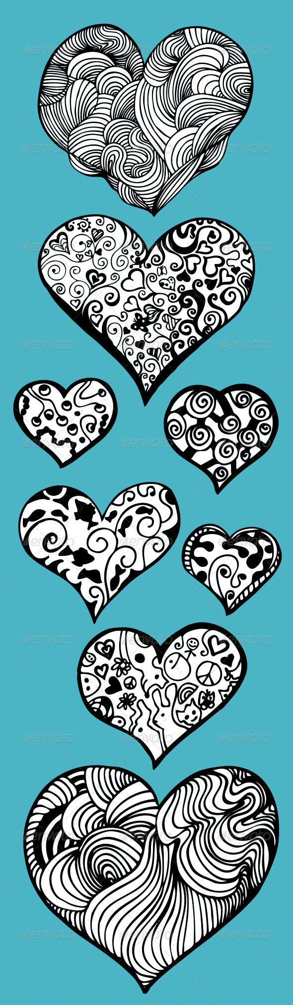 Doddle Heart Set - Valentines Seasons/Holidays $