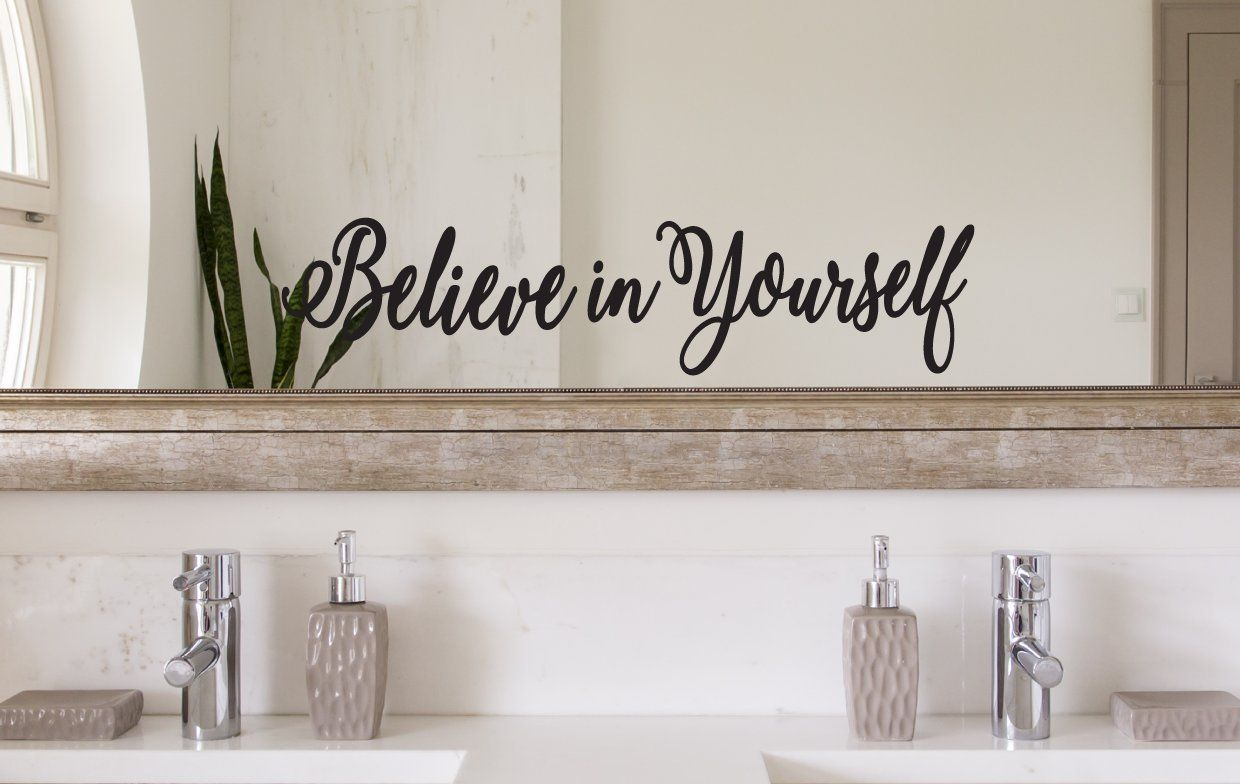 CrafteLife Believe in Yourself Wall Quote Decal and Mirror ...