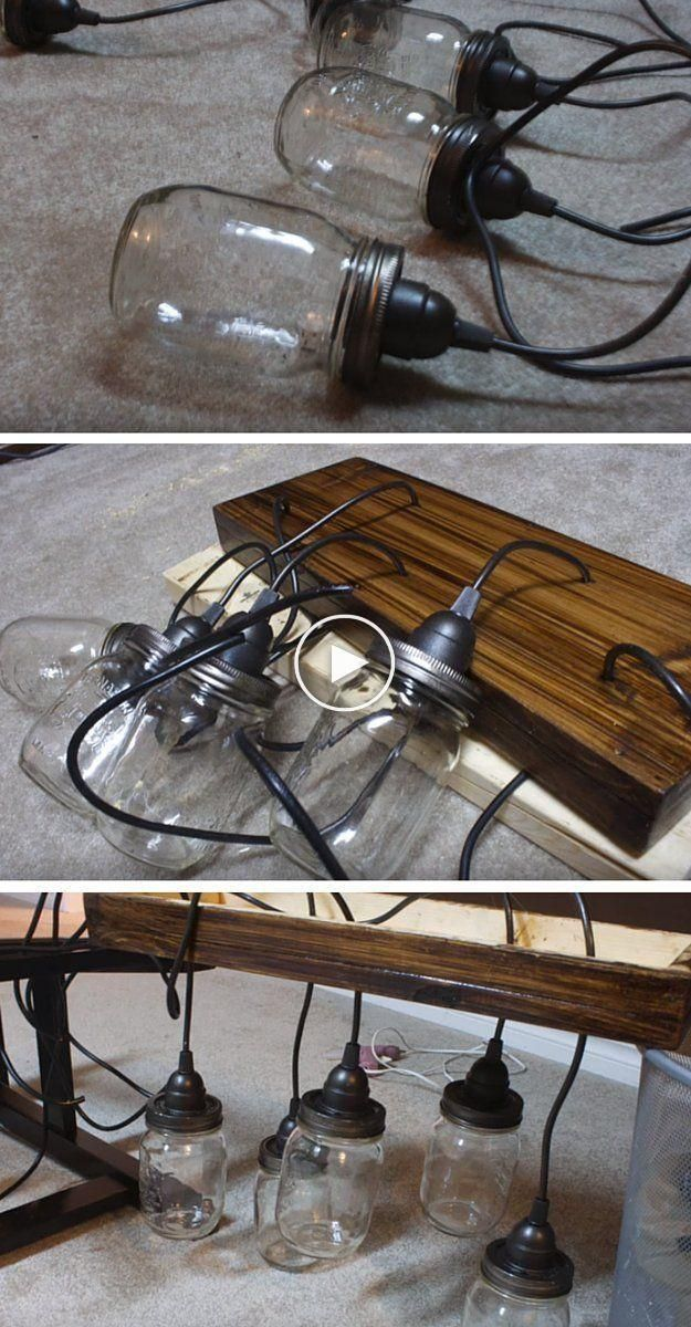 How to make a mason jar chandelier #jarchandelier