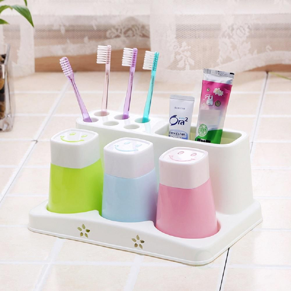 Bathroom Toothpaste Storage Rack Toothbrush Hold Plastic Cup Set Shelf Stand W