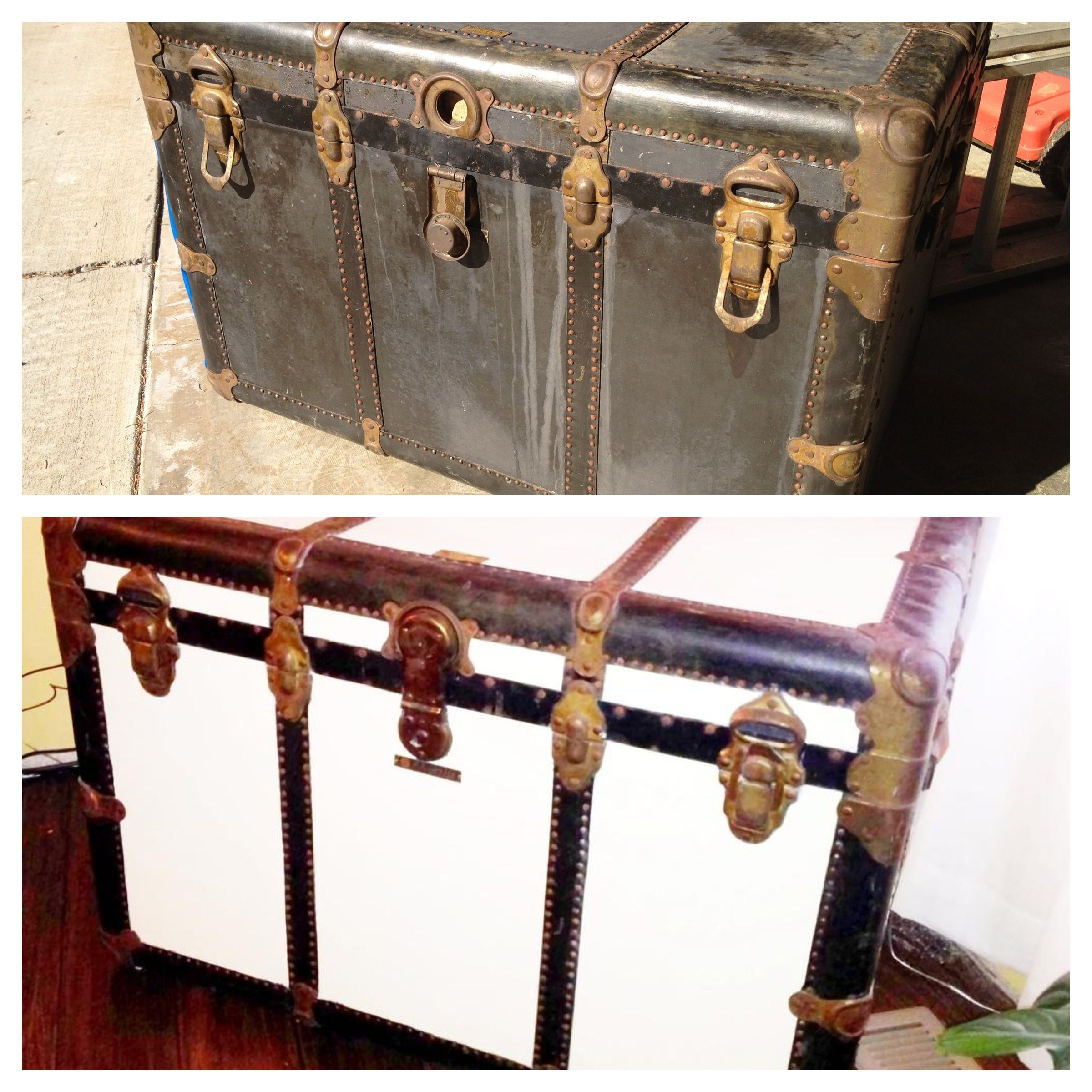 Diy Old Chest Trunk Mask Off All Metal Leather And Hinges Ivory