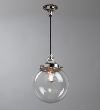 Silver Polished Shiny Metal Clear Glass Globe Pendant Light