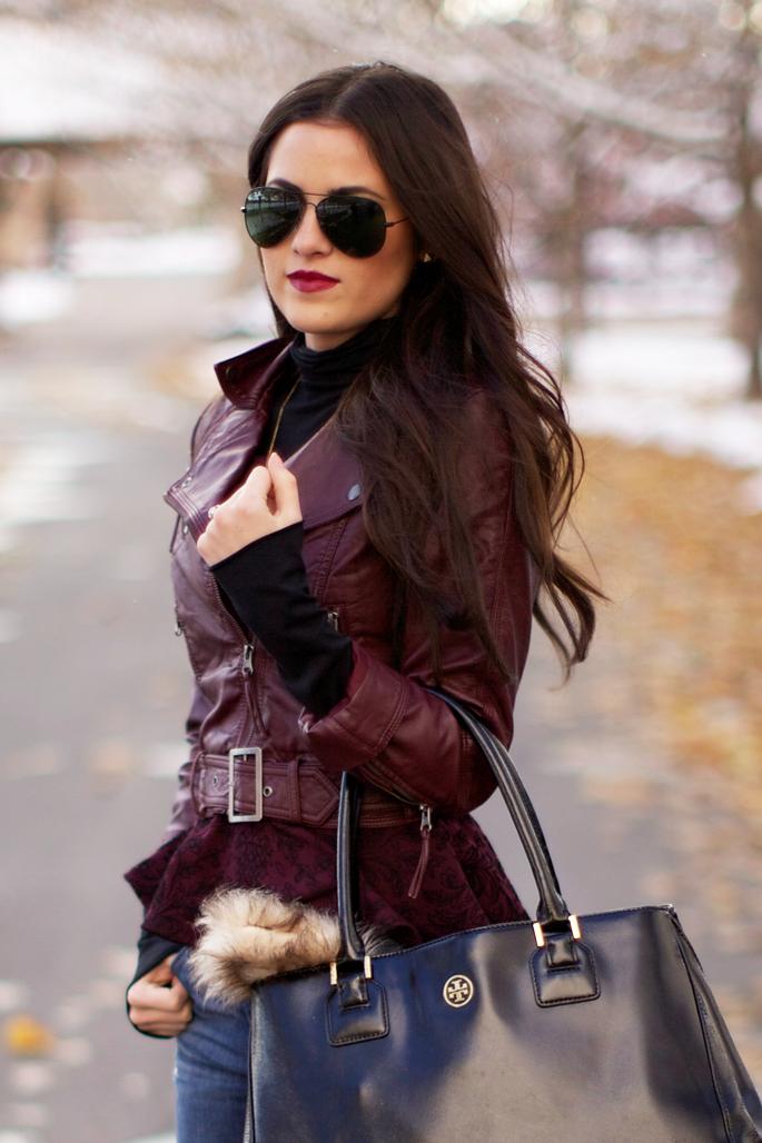 Fall Uniform Fashion, Style, Burgundy leather jacket