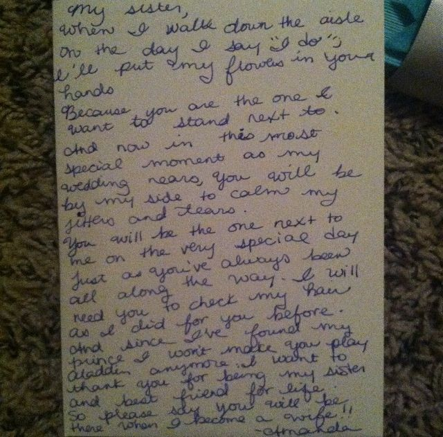 Letter To Sister Ask Her Be My Maid Of Honor