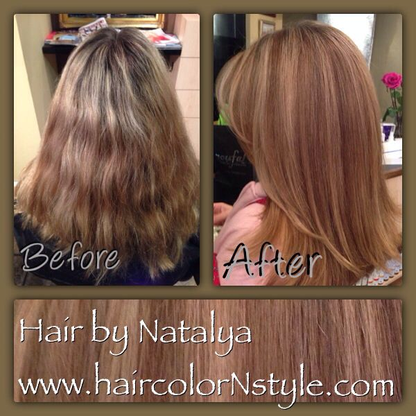 Color correction  medium blond  Low-lights and highlights. Long gradual layers haircut