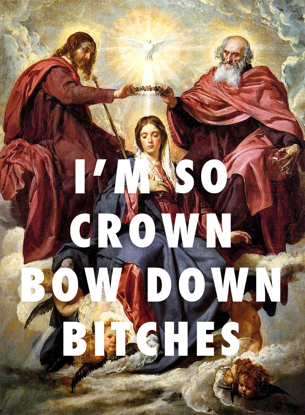 "flyartproductions: "" H(eaven) Town Vicious Coronation of the Virgin (1644), Diego Velazquez / Bow Down, Beyoncé """