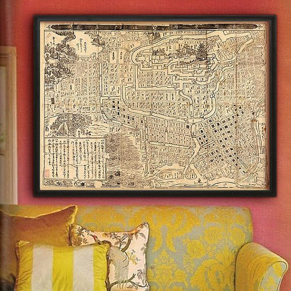 """Tokyo map 1682 Historical map of Tokyo, Edo up to 48x36"""" (122x91cm) Woodblock map of Edo reprinted with Archival inks on Fine Art paper"""