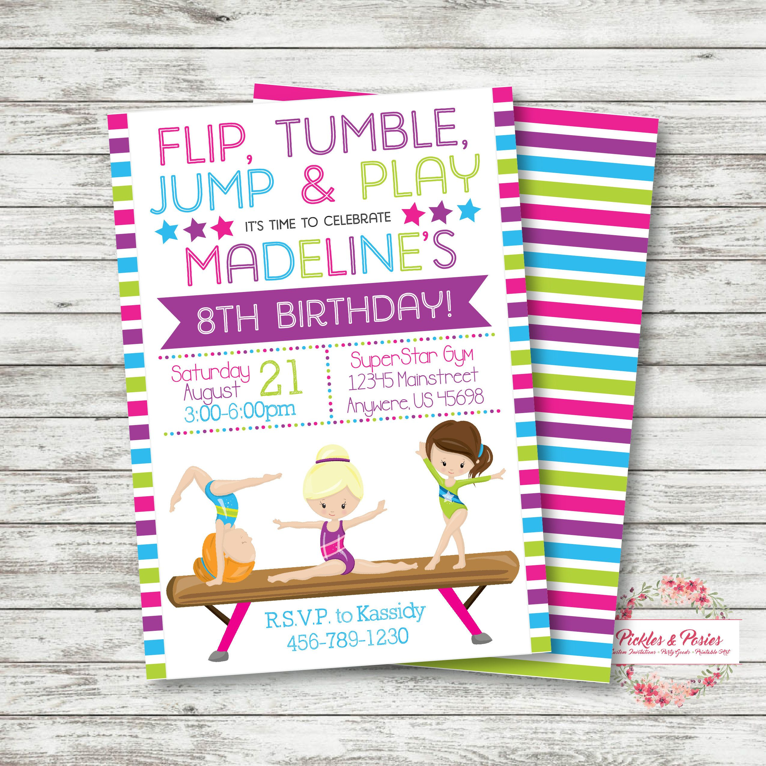 Gymnastics Invitation - Gymnastics Birthday Invitation - Tumbling ...