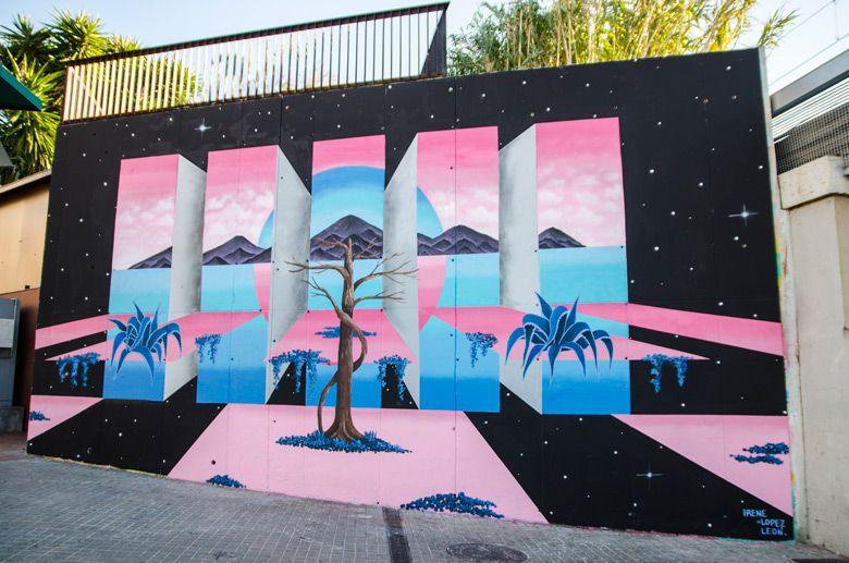 Originaire du quartier de L'Hospitalet à Barcelone, Irene Lopez Leon peint de nombreux paysages sur murs d'inspiration surréaliste, en