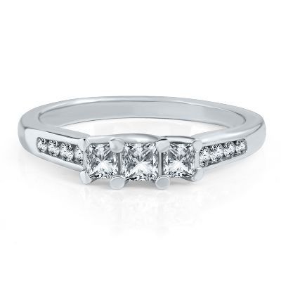 1/2ct TW Three-Diamond Anniversary Ring in 14k Gold available at #HelzbergDiamonds