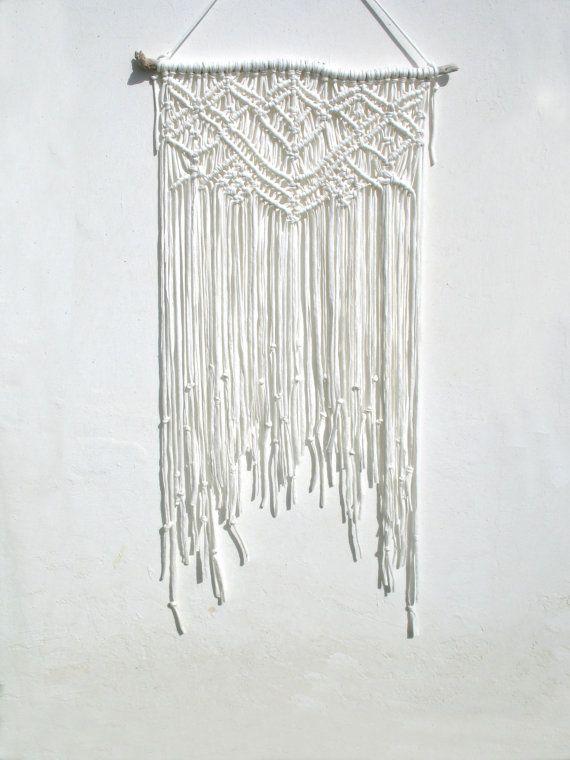 Macrame Driftwood Wall Hanging Recycled T Shirt Fabric Mobile White Boho Beach