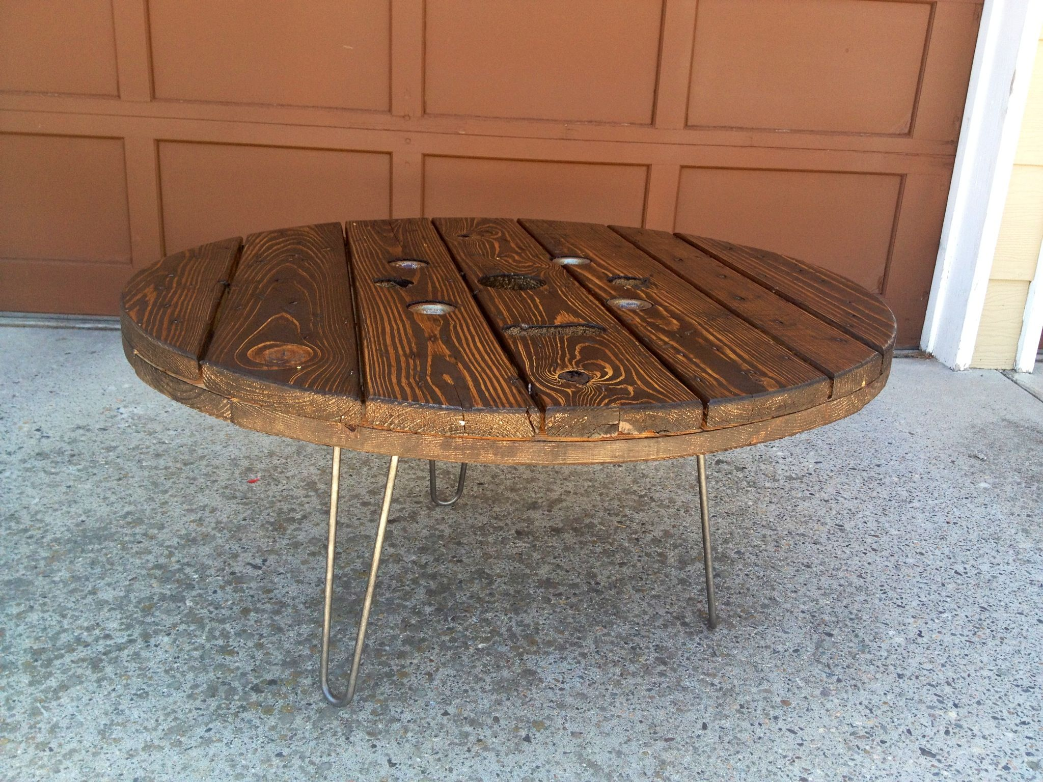 Upcycled Wooden Spool Table with Hairpin Legs