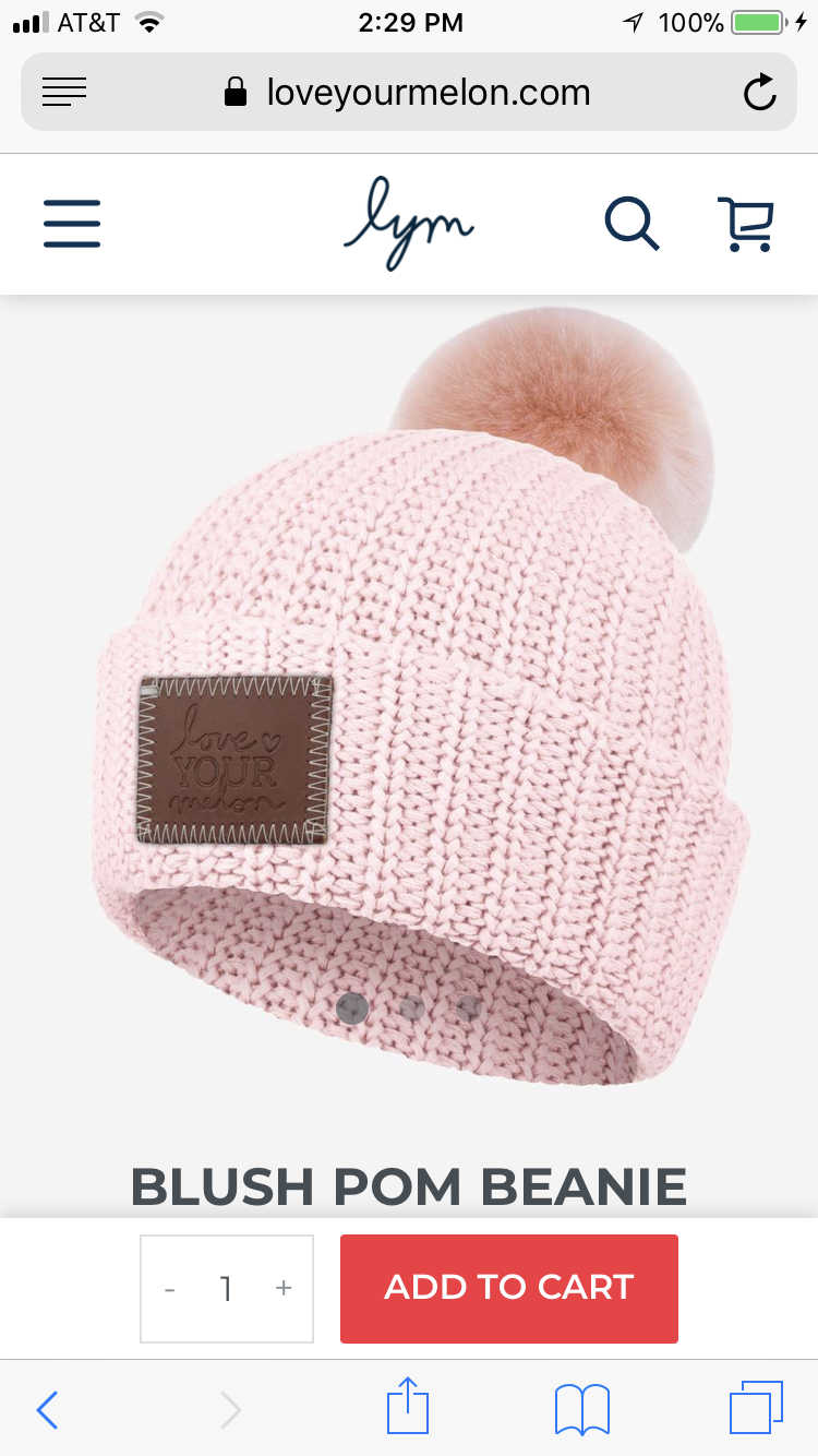 2baa084b293 Blush beanie with blush pom
