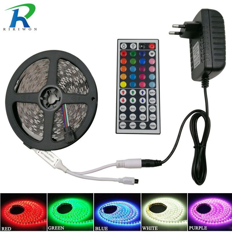 Riri No Smd5050 Rgb Led Tira De Luz 5 M 10 M Los 30 Leds M Dc 12 V Cinta Diodo Flexible Impermeable 44 Teclas Controlador Adaptador Conjunto
