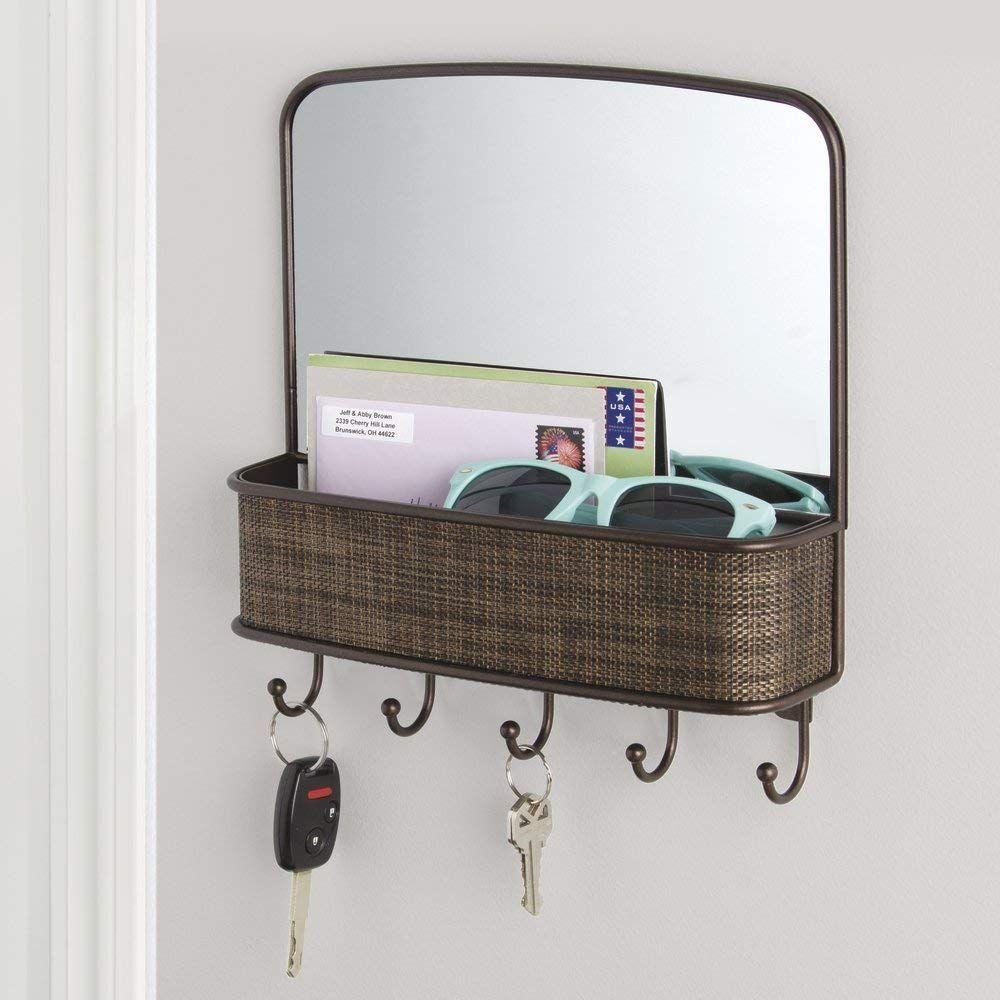 Interdesign Twillo Mirror With Mail Holder And Key Rack Organizer