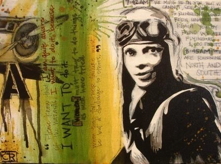 Amelia Earhart - moments in history  http://www.artspacewarehouse.com/artists/CourtneyRaney.html
