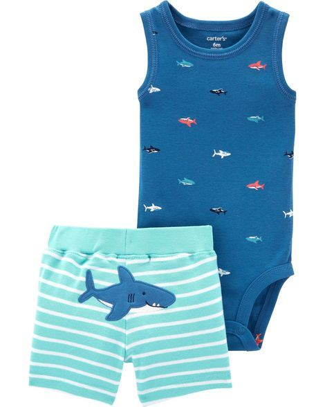 2-Piece Shark Bodysuit & Short Set | Baby boy clothes ...