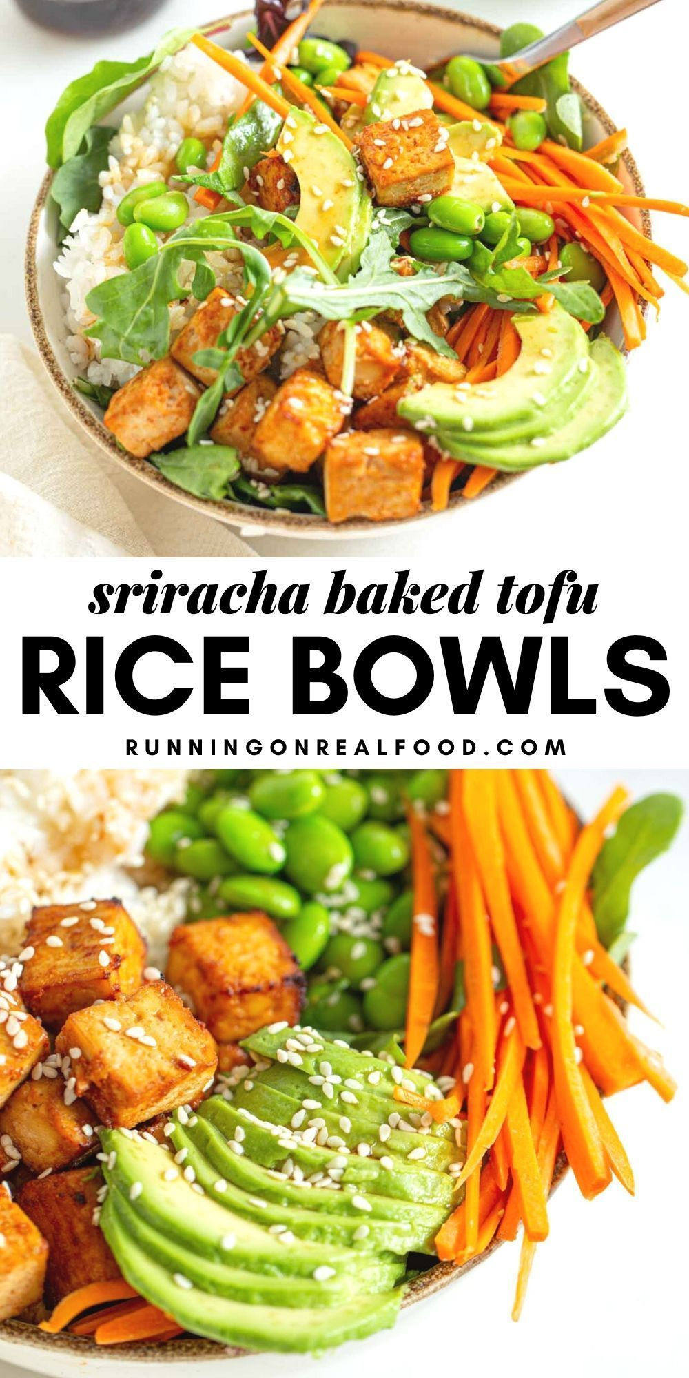 Sriracha Baked Tofu Rice Bowls Recipe In 2020 Baked Tofu Vegan Lunch Recipes Rice Bowls