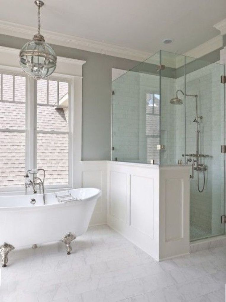 Master Bath Inspiration Wainscoting Free Standing Tub Green Tinted Glass Cool And Clean Colo Hampton Style Bathrooms Bathroom Remodel Master House Bathroom