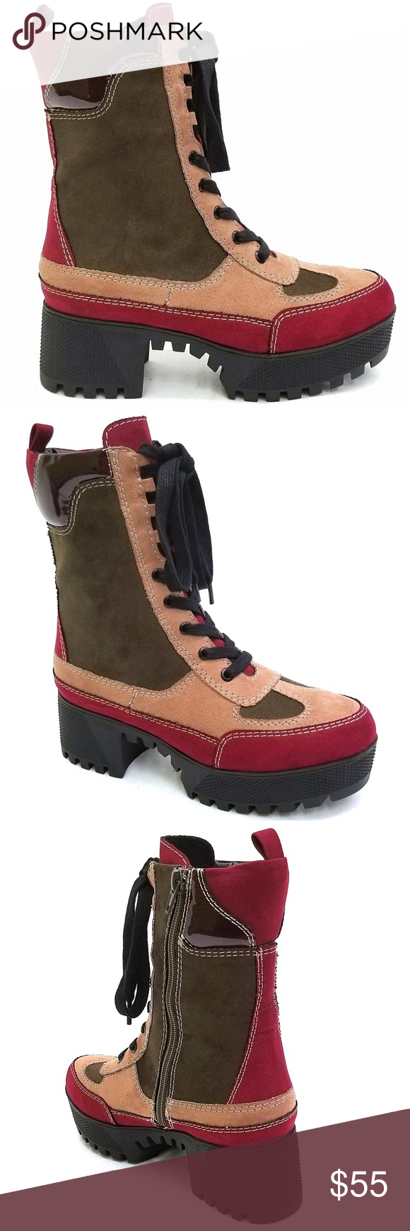 9ba999d44922 Combat Chunky Platform Lug Sole Ankle Boot Booties Be the center of  attention in these awesome lace up chunky lug sole ankle boots. New in box  Man made ...