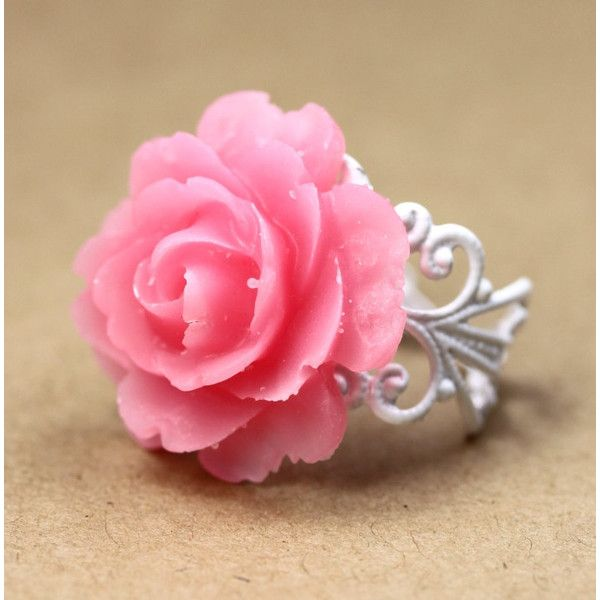 Ring Pink and White Rose and White Ornate Filigree Adjustable Band... ($14) ❤ liked on Polyvore