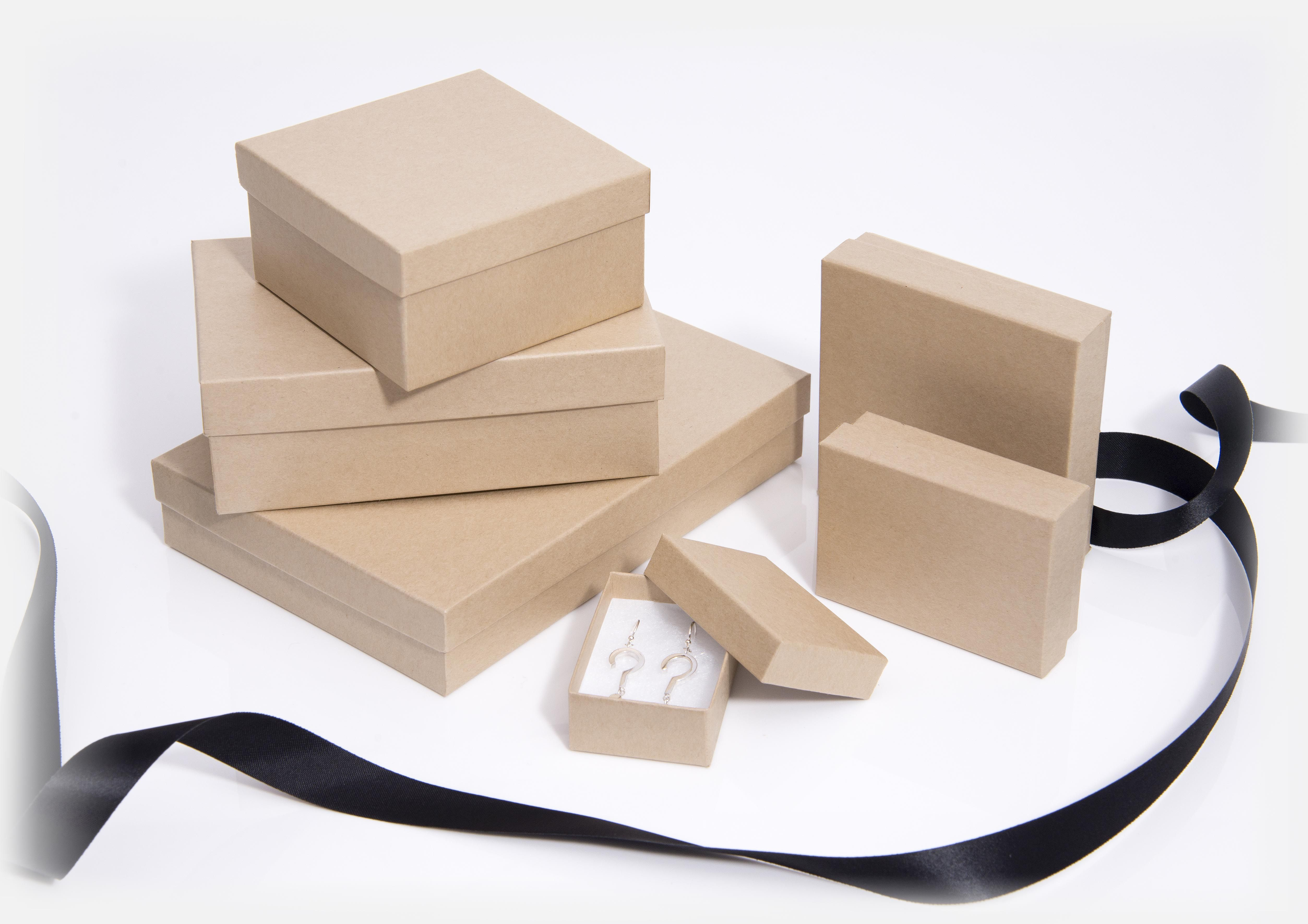 Kraft Natural jewellery boxes & small gift boxes, Brown Jewellery ...