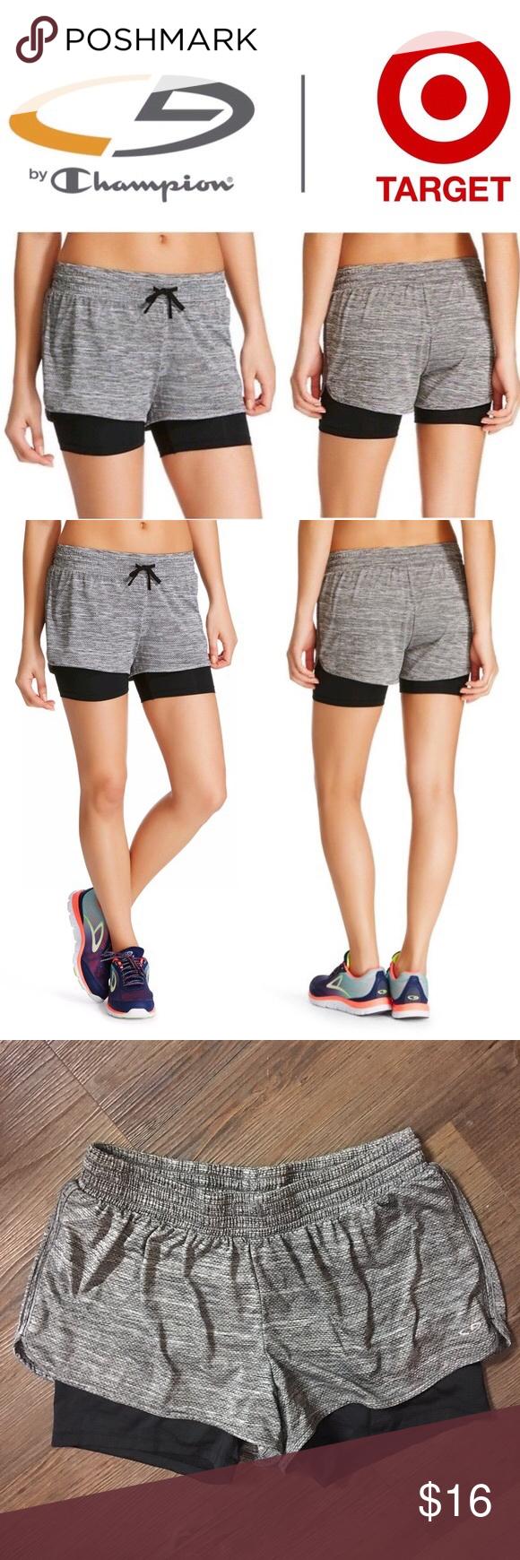 dd72b71685e8 C9 Champion Women s Knit Layered Shorts Gray Black The C9 Champion Layered  Short provides active coverage